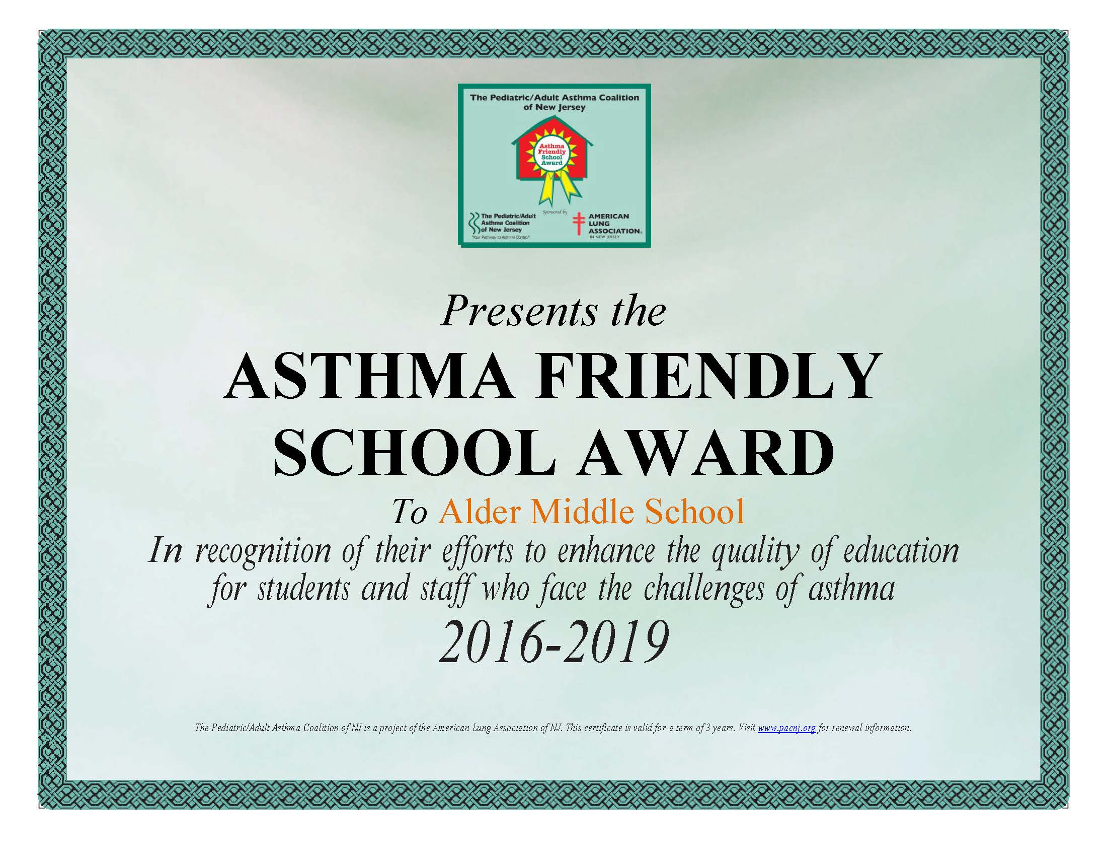 Sustainable jersey for schools certification report asthma friendly school documentation alder certificate 1betcityfo Images